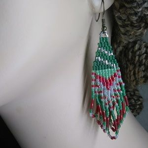 Christmas Holiday Fringe Beaded Earrings